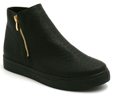 Flat Shoes Croco womens croc suede zip boots shoes trainers high