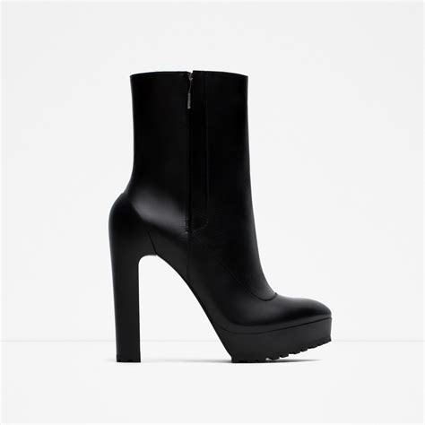 high heel black ankle boots zara high heel leather ankle boots in black lyst