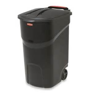 home depot garbage cans rubbermaid roughneck 45 gal black wheeled trash can with