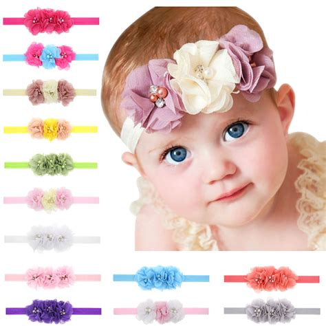 accessories newborn baby headband hair by 1pcs newborn baby headband 3 flower chiffon pearl