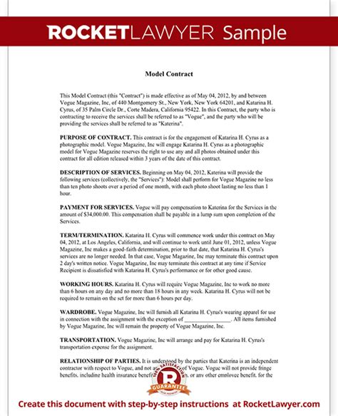 model agreement template modeling contract model agreement template form with