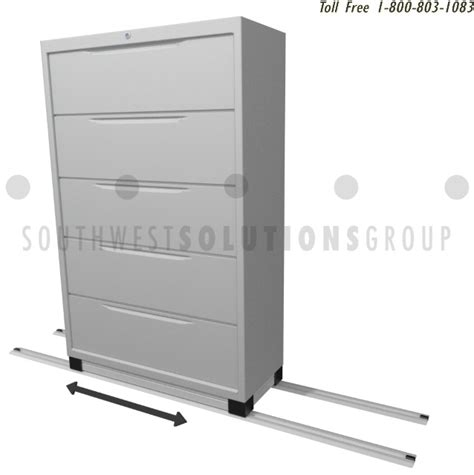 Rolling Flipper Door Filing Cabinets On Tracks Linear Rolling Lateral File Cabinet