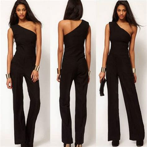 black pattern jumpsuit details about sexy womens black jumpsuit one shoulder slim