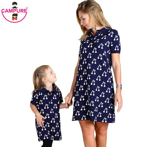 pattern matching clothes 2016 spring autumn mother daughter dresses cherry pattern