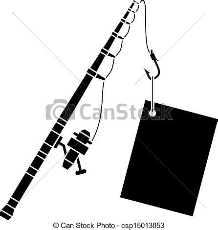 clipart vector of vector black fishing rod with label