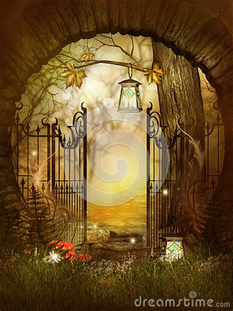 open gates   fairytale wood royalty  stock images