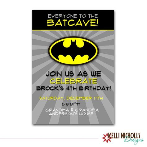 batman birthday party invitation custom printable boy