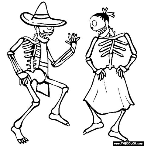 skeleton day of the dead coloring pages dancing skeletons online coloring page dia de los