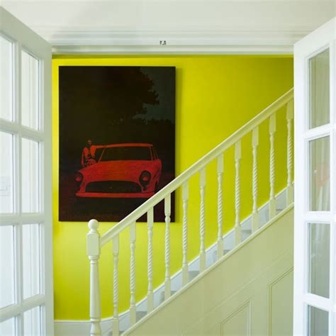 painted stairs with acid yellow feature wall painted stairs housetohome co uk