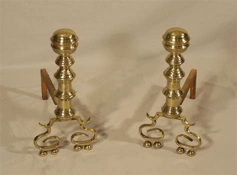 Fireplace Andirons For Sale by 7989 19th Century Pair Of Philadelphia Brass Fireplace