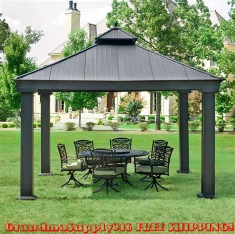 New Outdoor Metal Hardtop Gazebo 12 X 12 X 12 Canopy Outdoor Patio Gazebo 12x12