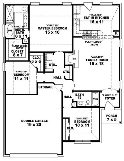 large 2 bedroom house plans 3 bedroom 2 bath 46701 3 bedroom 2 bath 1 story house