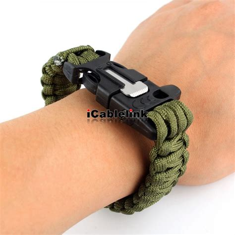 Paracord Survival Bracelet With Magnesium Flint Starter survival paracord bracelet magnesium flint starter scraper whistle gear kit army green