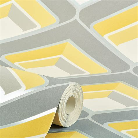 grey yellow wallpaper uk grandeco geometric glitter wallpaper in yellow and grey