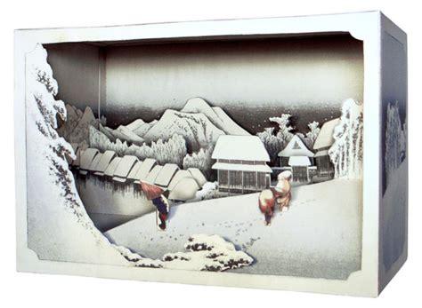 How To Make A Paper Diorama - diy paper diorama hiroshige ando evening snowpaper craft