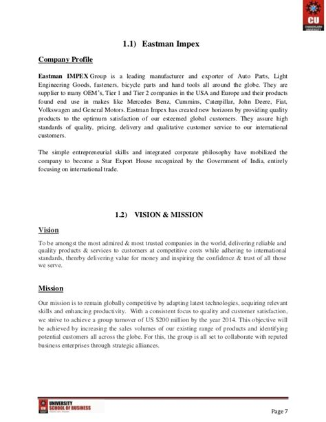 Introduction Letter Format For Export Business Export Import And Documentation Project Report