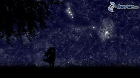starry night sky girl anime silhouette of couple