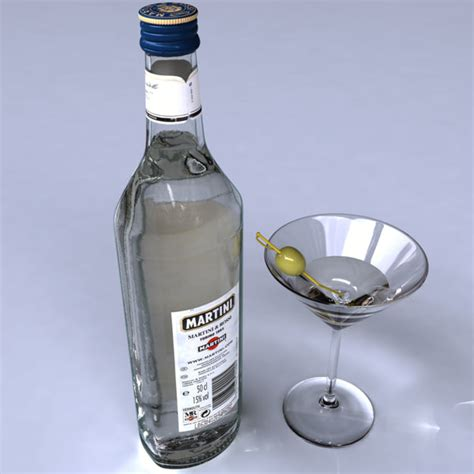martini drink bottle bottle martini 3d model