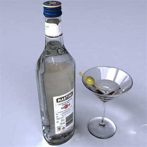 martini drink bottle bottle martini 3d model