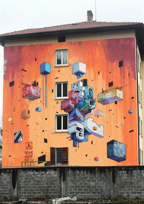 New Etnik etnik paints a new mural in trento italy