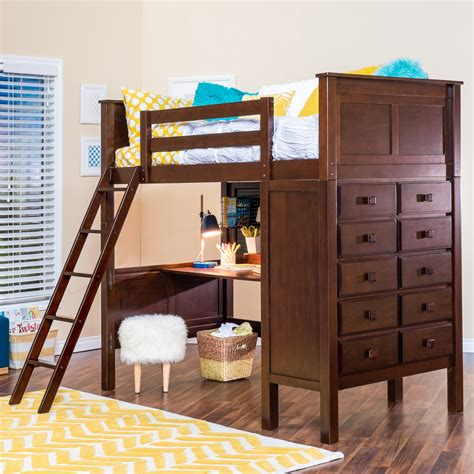 bunk bed with desk and dresser kenai loft bed with dresser epoch design