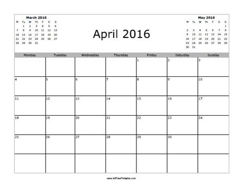 printable planner april 2016 april 2016 calendar free printable allfreeprintable com