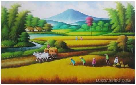 jual lukisan panen raya lukisan  memanen padi
