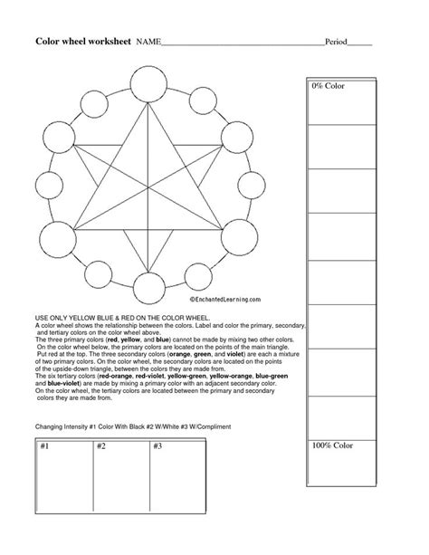 Color Theory Worksheet by Color Wheel Worksheet Worksheets