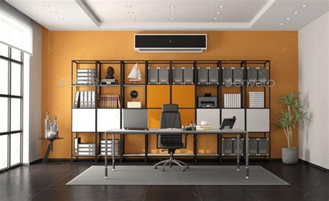 gray  orange modern office  minimalist desk  large bookcase  background