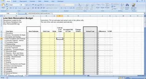 Renovation Construction Budget Spreadsheet Implementing Renovations Alterations Or Renovation Spreadsheet Template Free