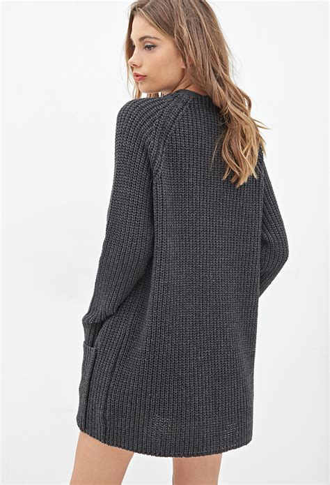 knit cardigan forever 21 forever 21 waffle knit cardigan in gray lyst