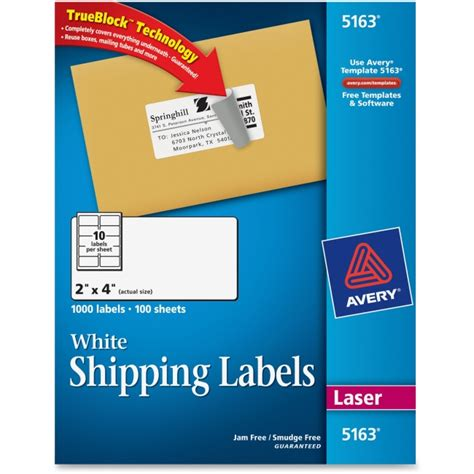 avery 5163 easy peel white shipping labels permanent