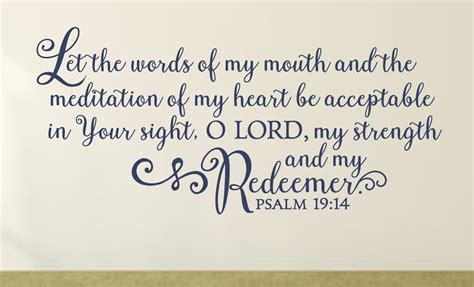Psalm 19 14 Let The Words Of My Mouth Wall Decal A