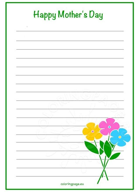 printable lined paper for mother s day mother s day writing paper flowers coloring page