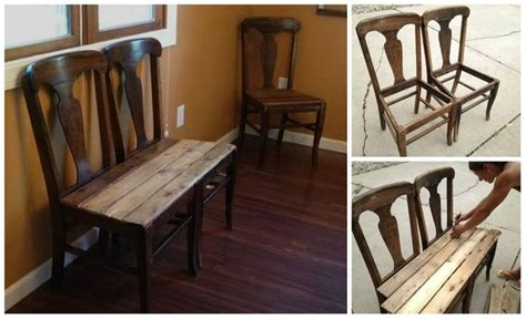how to make a bench out of old chairs learn how to make a a bench out of two old chairs and a
