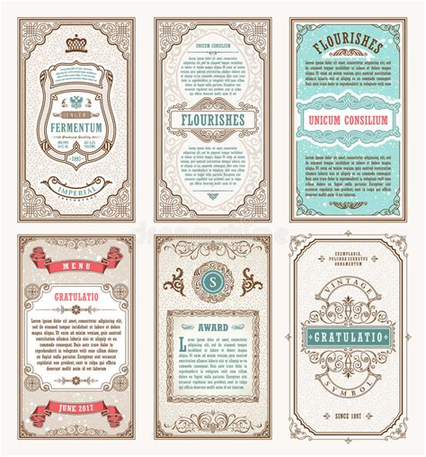 Retro Card Template vintage set retro cards template greeting card wedding
