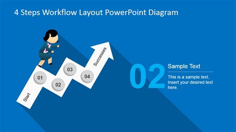 powerpoint layout with 4 pictures 4 steps workflow layout powerpoint diagram slidemodel
