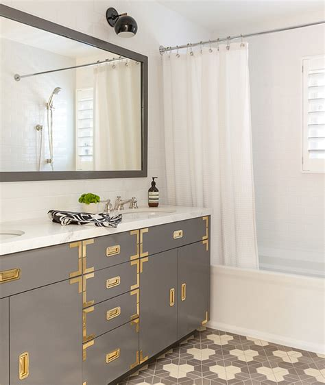 Vanity Hardware by Gray Caign Vanity With Brass Hardware And Gray Mirror Bathroom