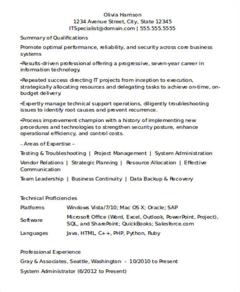 resume templates for it experienced professionals 16 experienced resume format templates pdf doc free