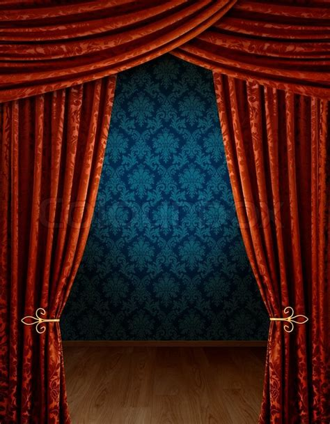 reveal curtain red curtains reveal open stage stock photo colourbox