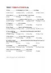 verb pattern tests english teaching worksheets verb patterns