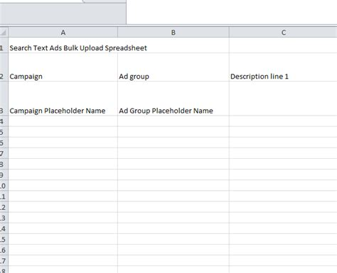 upload template to ad copy upload spreadsheet my excel templates
