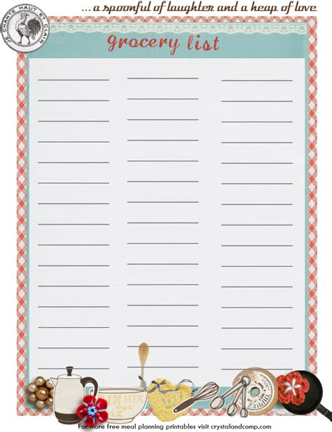 grocery list planner printable weekly meal plan ideas 212