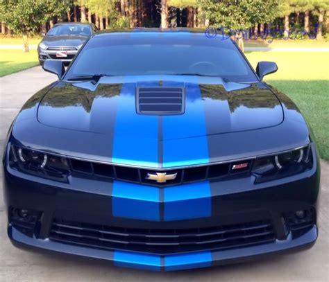 black camaro with blue stripes my car now a 2014 camaro ss2 ashen grey with blue