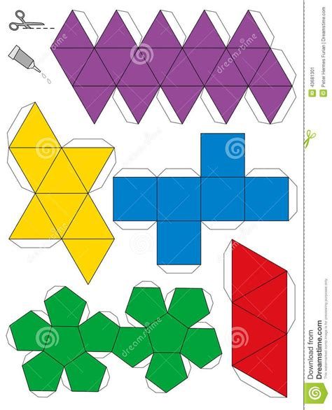 platonic solids paper model template stock vector image