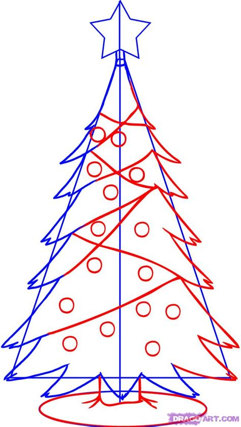 how to draw a simple christmas tree step by step