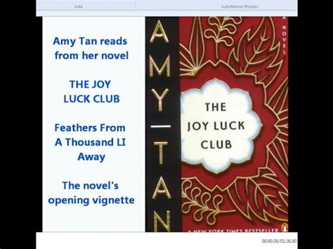the joy luck club themes and motifs amy tan reads the joy luck club quot feathers from a thousand