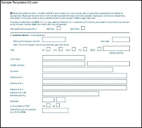 Personal Loan Application Form Template personal loan application form sle templates