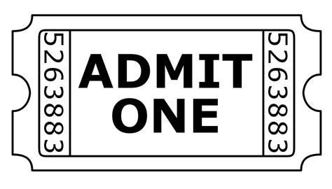 printable ticket template 2 1 8 x 5 1 2 black and white movie ticket pictures to pin on pinterest