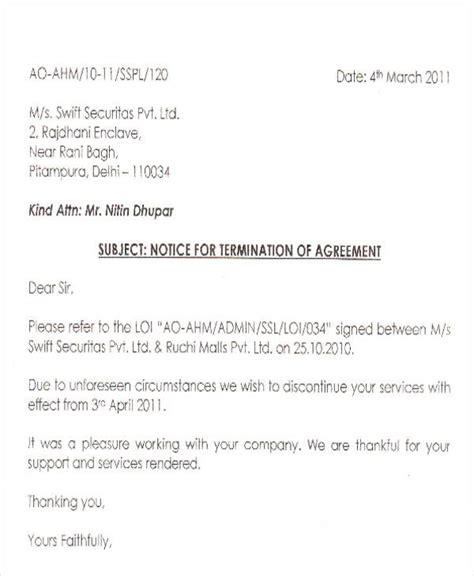 termination letter sle for security service termination letter format for security agency 28 images